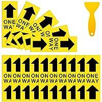 IDJWVU 15枚 6インチ x 18インチ 一方向矢印 フロアステッカー 社会距離 フロアステッカー デカール 防水 ビニール 安全 距離 フロアサイン マーカー 商用素材 (黄色の背景)