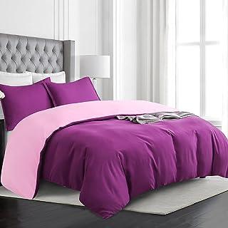 Vaulia Contrast Color Design Soft Microfiber Duvet Cover Set, Queen Size Purple /Pink ( 1 Duvet Cover 2 Pillow Shams )