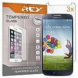 REY 3X Protector de Pantalla para Samsung Galaxy S4, Cristal Vidrio Templado Premium