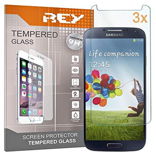 REY 3X Protector de Pantalla para Samsung Galaxy S4, Cristal Vidrio Templado...