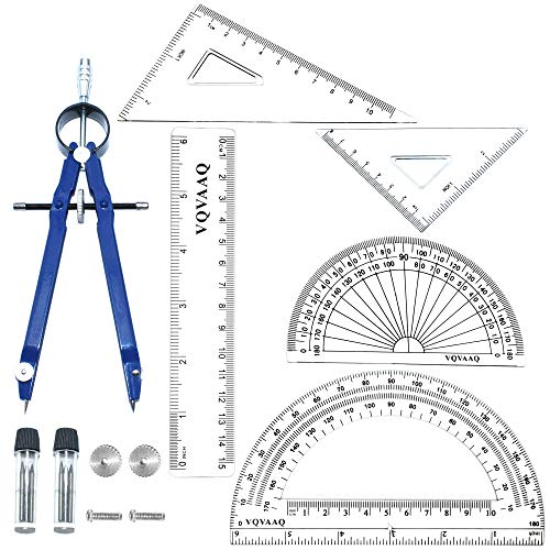 6 Piece Geometry School Set,with Quality Compass, Linear Ruler, Set Squares, Protractor, … (6 pcs-Blue)