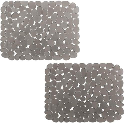 2Pcs Sink Mat Adjustable Kitchen Sink Saddle Eco-friendly Sink Protector PVC Material Modern Pebble Design Cushions Sinks Dish Drying Mat for Kitchen Accessory 12' x15.8' (Grey)