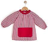BeBright Babi Escolar Infantil sin Botones, Bata Escolar Niña y Niño, Mandilón de Guardería- Fabricado en España (Rojo, 1-2 Años)