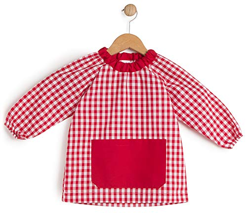 BeBright Babi Escolar Infantil sin Botones, Bata Escolar Niña y Niño, Mandilón de Guardería- Fabricado en España (Rojo, 2-3 Años)