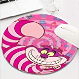 Computer Gaming Mouse Pad Waterproof Non-Slip Rubber Material Round Mouse Mat for Office and Home(8 Inch)-Alice in Wonderland Cheshire Pink cat Smiling