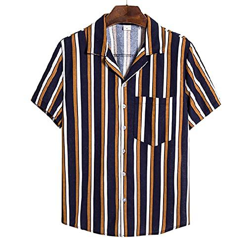 SSBZYES Camisas De Hombre Camisas De Verano De Manga Corta Camisetas De Hombre Tops De Hombre Camisas De Tallas Grandes Camisas De Manga Corta a Rayas De Algodón Y Lino Camisas Casuales
