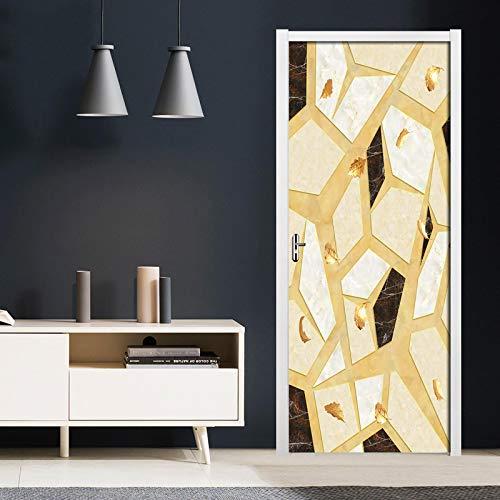RGAHOT Murales Para Puertas Textura de mármol abstracta 3D Papel Pintado Puertas Autoadhesivo Cocina Sala de Baño impermeable Desmontable Vinilos Póster DIY Arte Casera Decoración 77x200cm