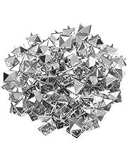 500 Stuks Piramide Klinknagels Vierkante Piramide Klauw Klinknagels Metalen Klinknagels Klinknagels Punk voor DIY Zak Jeans Kleding Accessoires 10 mm Zilver