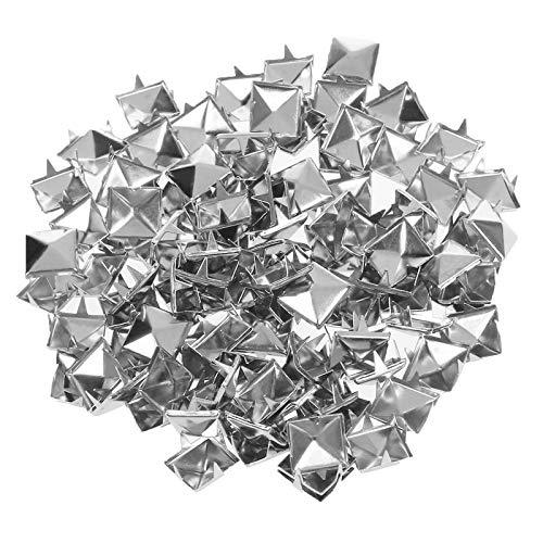 MJTCHE19 Pyramidennieten 500 Stück Pyramiden Nieten Set Punk Pyramid Nieten Nieten Quadratisch Spitzenieten Krallen Nieten für Leder Kleidung Taschen Jeans Schuhe Hüte Dekoration Silber 10mm