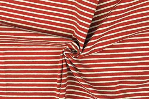 Die Stofftante / Streifenjersey/Ringeljersey / Ökotex / 50x155 cm/Meterware (rot-weiß)