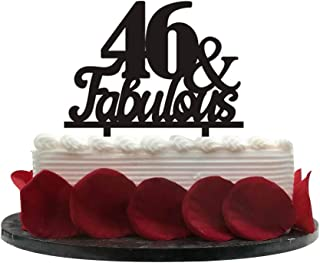 46&Fabulous Birthday Cake Topper | 46th Party Decoration Ideas | Wedding, Birthday, Anniversary, Party Supplies Topper Decoration | Classical Black Acrylic