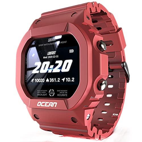 HQPCAHL Reloj Inteligente para Hombres, rastreador de Ejercicios, presión Arterial, Mensaje, pulsador, Monitor de frecuencia cardíaca, Reloj Inteligente para Mujeres para Android,Rojo