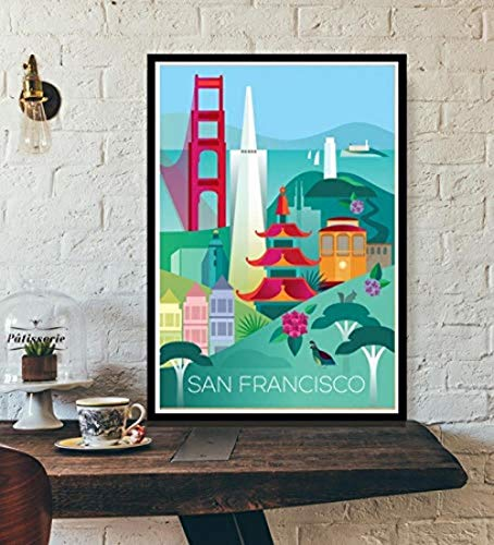 CWSWP Art Poster Prints Hot Tourism World Travel City Cover New York Vietnam Vintage Paisaje Poster Impresiones Wall Art Lienzo Pintura Sala Decoración del Hogar 50x70 cm Sin Marco