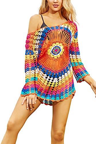 YouKD Tops de Ganchillo con Túnica de Punto Hueco para Mujer Poncho de Playa Vestido de Verano para la Playa