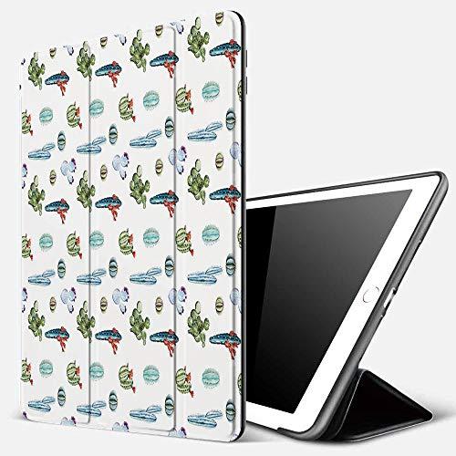 Funda iPad 10.2 Inch 2018/2019,Cactus, Lindas Plantas indígenas de Acuarela con Muchos diseños Elementos de Acuarela Flor Decorativa, Multicolor,Cubierta Trasera Delgada Smart Auto Wake/Sleep