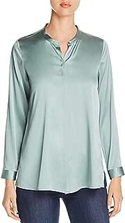 Eileen Fisher ELM Stretch Silk Charmeuse Mandarin Collar Shirt Size XL MSRP $298