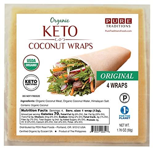 Certified ORGANIC Raw Coconut Wraps, Keto Certified, Paleo Certified, Vegan, 4 Wraps, 1.76 oz
