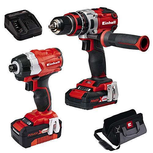 Einhell 4257216 4.0 Ah Cordless Power X-Change Combi Drill and Impact Driver Brushless Kit - Twin Pack , Red