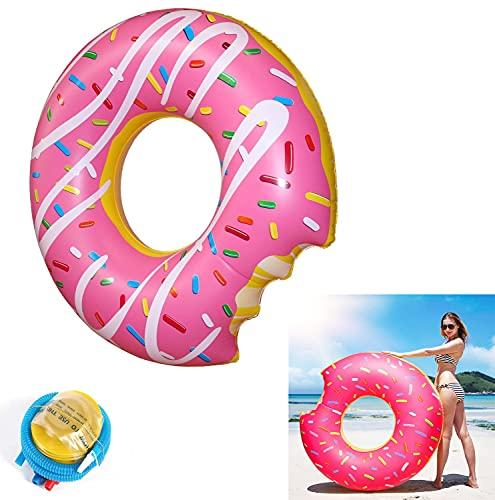 Donut-schwimmring,Schwimmring Donut mit Biss,Aufblasbar Donut Ø 120 cm Schwimmring Schwimmreifen Luftmatratze Schwimmkissen für Erwachsene & Kinder Schwimminsel Schwimmtier mit Aufblasgerät-Rosa