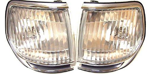 Lot de gauche + droite d'angle Blanc tourner Indicateur de signal positionnement lamps Paire (gauche + droite) Chrome Bezel