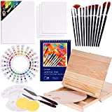 Acrylic Paint Set, 49 Piece Painting Supplies Set, Includes Wood Table Easel, Painting Brushes, Acrylic Paints, Palette and Acrylic Painting Pad, for Artists,Students
