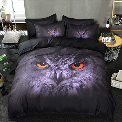 HOHAI 3-teiliges Bettwäsche-Set mit Eulenmotiv, Dunkelviolett, 3D-Ölgemälde, Bettwäsche-Set, mit 2 Kissenbezügen für Schlafzimmer, Baumwollmischung, violett, King Size