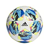 adidas Finale TT J350 Soccer Ball, Hombres, Top:White/Bright Cyan/Solar Yellow/Shock...