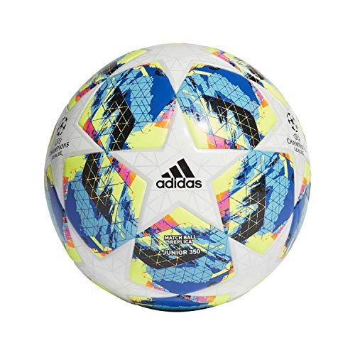 Adidas Finale TT J350, Pallone da Calcio Uomo, Top:White/Bright Cyan Yellow/Shock Pink Bottom:Collegiate Royal/Black/Solar Orange, 5