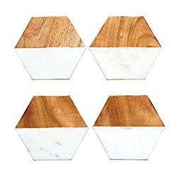 Creative Co-Op DA6336 Marble and Natural Mango Wood Coasters (Set of 4), Hexagon, Multicolored