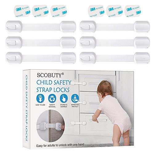 Cerraduras de Seguridad para Niños,Ajustable Niño Seguridad Cerraduras,Bloqueo para Niños,Se Puede Utilizar en Refrigeradores,Lavavajillas, Armarios,etc,6 Pegatinas 3M Gratuitas
