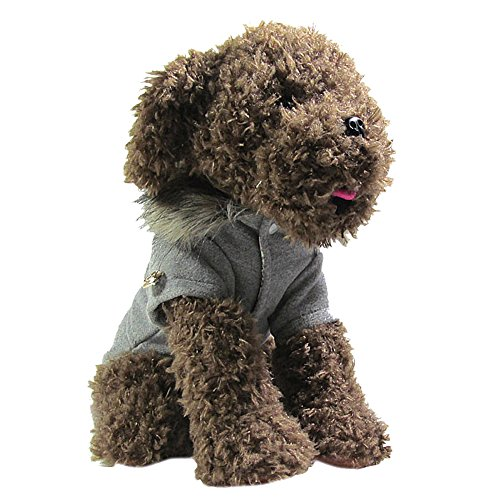 Chinatera Winter Warm Haustier Luxus Jacke Overall Hosen Hund Kleidung (Grau, M) - 4