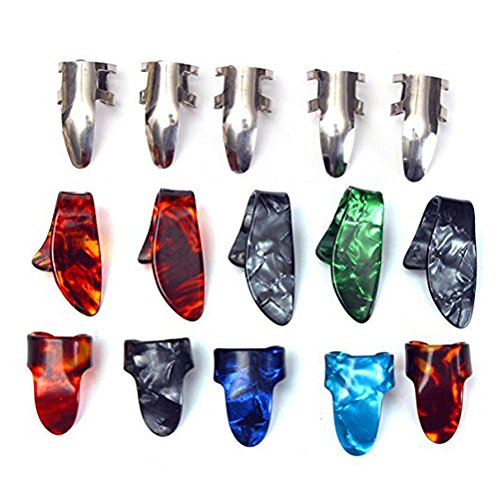 ROSENICE Plettri pollice per Chitarra Plettri dita con 3 tipi diversi in plastica e acciaio (15pcs)