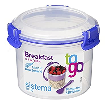 Sistema Klip It Collection Breakfast Bowl To Go Food Storage Container, 17.9-Ounce/2.2 Cup