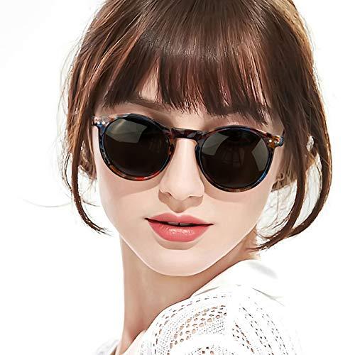 SODQW Retro Rund sonnenbrille herren - Polarisiert sonnenbrille damen mit UV400 Schutz (Blume Rahmen/Grau Linsen)