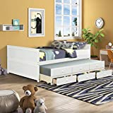 Full Size Captain Bed, HABITRIO Solid Pine Wood&Composite Wooden Structure Full Daybed w/Twin Trundle&3 Storage Drawers, No Box Spring Needed, Sofa Bed for Kids Teens Bedroom, Guest Room, Living Room