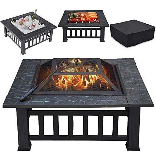 32 inch Outdoor Square Metal Firepit Deep Wood Burning Fire Pit with Cover Backyard Patio Garden Stove Wood Burning BBQ Fire Pit, Faux-Stone Finish