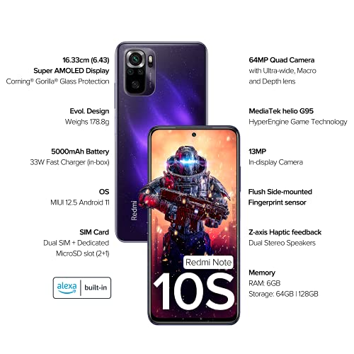 Redmi Note 10S (Cosmic Purple, 6GB RAM, 128GB Storage) - Super Amoled Display   64 MP Quad Camera  NCEMI Offer on HDFC Cards   6 Month Free Screen... 4