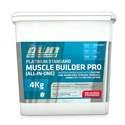 OWN - Platinum Standard Muscle Builder Pro All-in-One Lean Muscle Fuelling Gainer, Strawberry Flavour, 4kg
