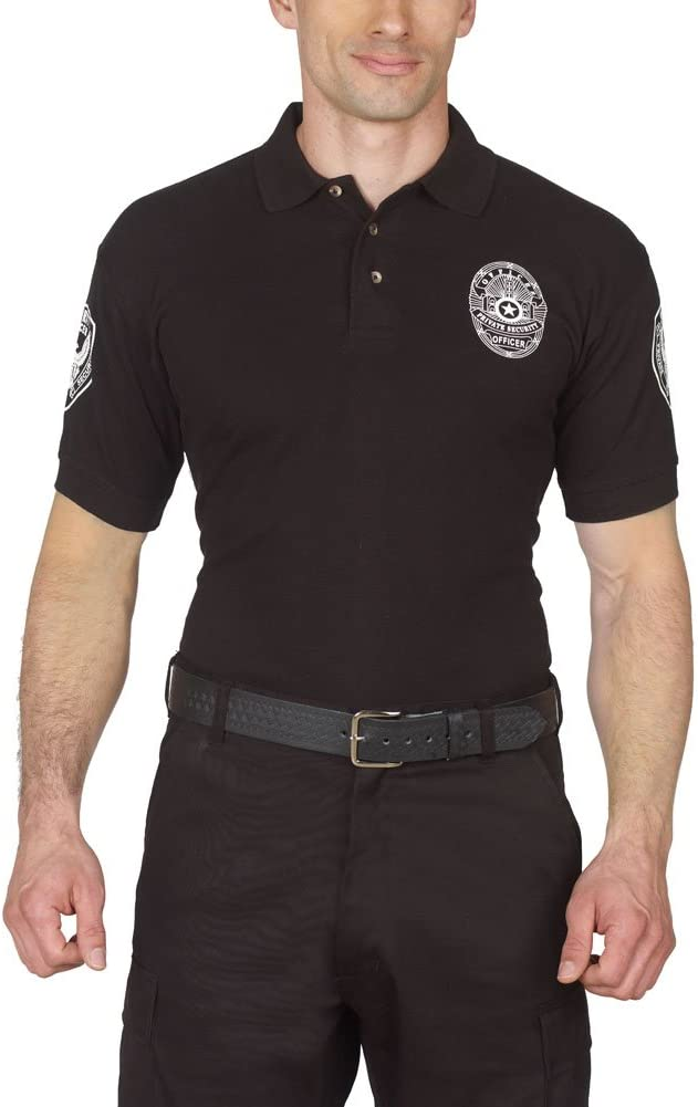 HPU Security Polo Shirt Deluxe 100% Cotton Pre-Shrunk Black with White Letters