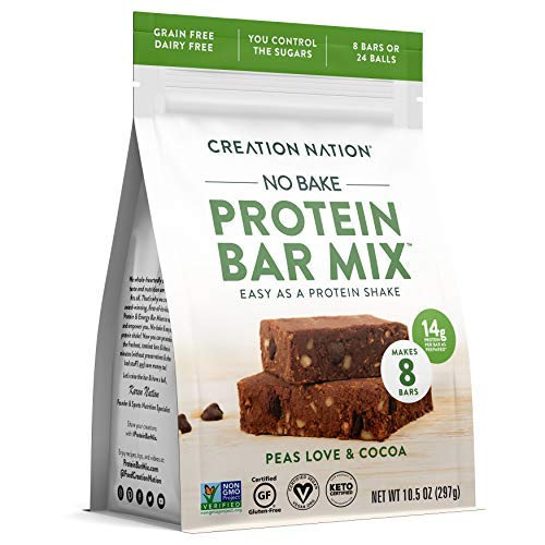 PROTEIN BAR MIX ~ No-bake & Easy as a Protein Shake! Makes 8 Bars or 24 Protein Balls, 14g Protein/ Bar. KETO VEGAN PROTEIN BALLS BARS & BITES. Gluten Free, Grain Free. 'Peas Love & Cocoa'