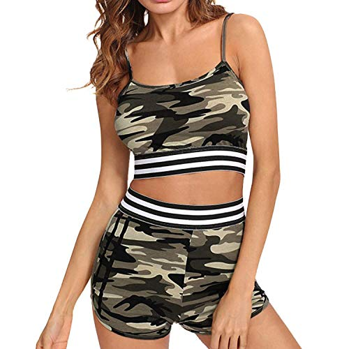 Tankini Damen Push Up Neckholder Bademode Bikini Camouflage Mit Shorts Festlich Bekleidung Damen Badeanzug Bikini Sets Frauen Badeanzug Mode Strand Swimsuit (Color : Colour, Size : M)