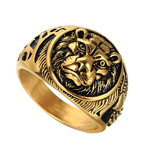 HIJONES Men's 316l Stainless Steel Gothic Biker Lion Signet Ring Gold Black Size N