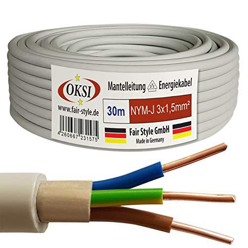OKSI 30m NYM-J 3x1,5 mm² Mantelleitung Feuchtraumkabel Elektrokabel Kupfer Made in Germany