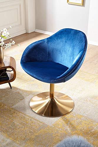 FineBuy Loungesessel SIRAN 70 x 79 x 70 cm Design Drehstuhl Blau | Clubsessel Polsterstuhl mit Armlehne | Drehsessel Cocktailsessel Lounge | Barsessel Besucherstuhl | Sessel mit Stoffbezug - 6
