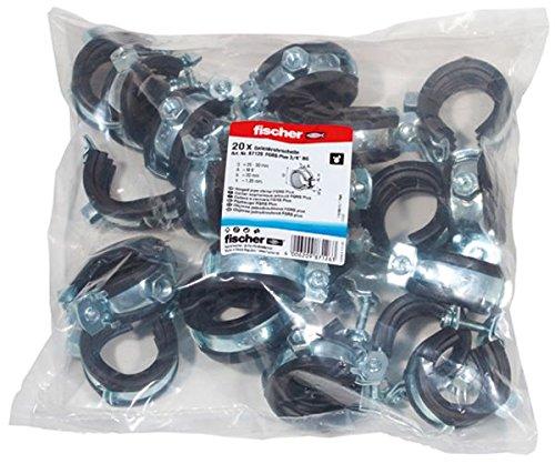 fischer FGRS Plus 3/4'' BG - Premium Rohrschelle einteilig, mit Schnellverschluss und Schalldämmeinlage zum Befestigen von Rohrleitungen bis 3/4