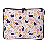 Purple Cute Bunny and Leaves Pattern 13 Inch Protective Laptop Sleeve Ultrabook Notebook Carrying Case Compatible with MacBook Pro MacBook Air Tablet Briefcase Bag