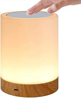 Bostar LEDナイトライト テーブルランプ usb充電 3段階調光 6色変換 タッチ式 授乳ライト ベッドサイドライト 木目調