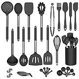 DOPGL Juego de utensilios de cocina, 36 piezas de utensilios de cocina de silicona, sin BPA, antiadherente, resistente al calor, mejor utensilios de cocina con mango de acero inoxidable (negro)