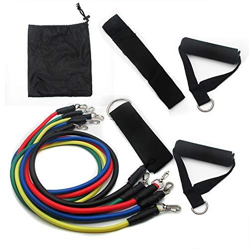 SlimpleStudio 5 Látex Bandas de ResistenciaJuego de Cinturones de Entrenamiento multifuncionales para Tirar de 11 Piezas