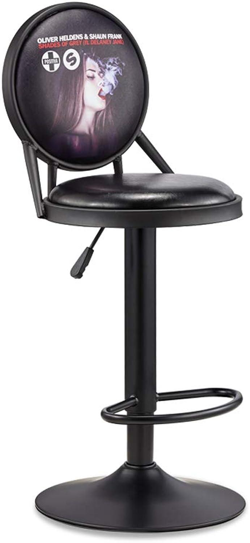 Byx- European Bar Chair Retro Bar Chair Front Desk Chair Lift redating High Stool Iron Art Nail Chair Beauty Stool @ (color   B)
